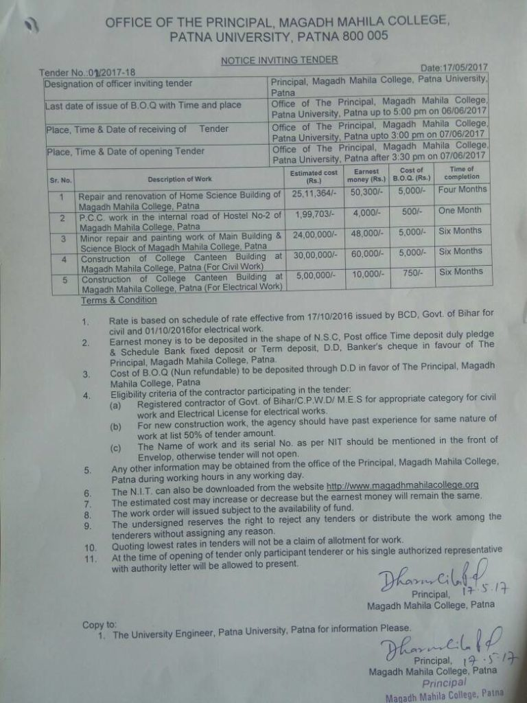 Tender notice for various construction and repair work – Magadh